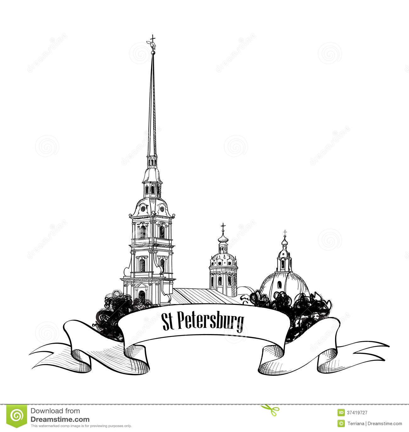 St. Petersburg Landmark, Russia. Sunset View Royalty-Free