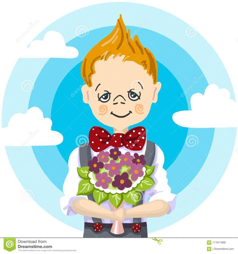 medium resolution of 1st september school day education smile school boy blond hair who take a bouquet