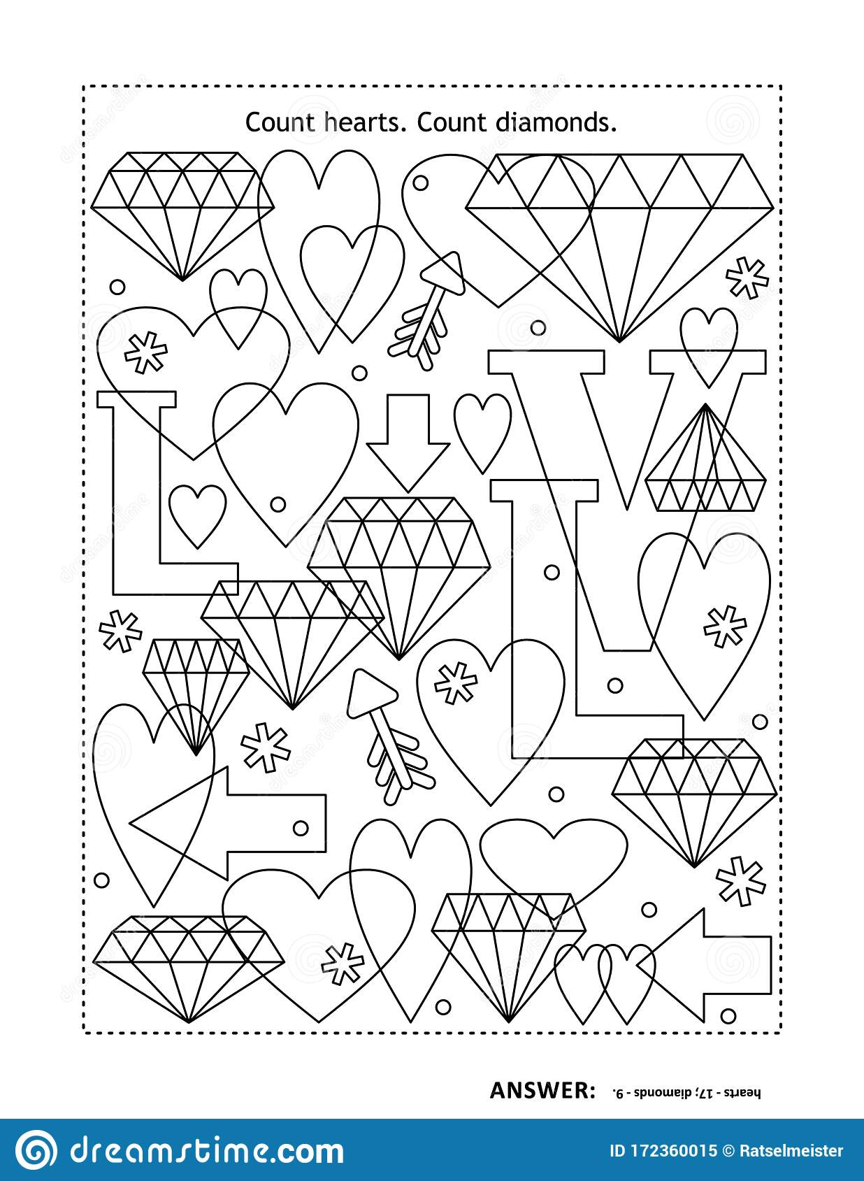 Counting Game With Hearts And Diamonds Stock Vector