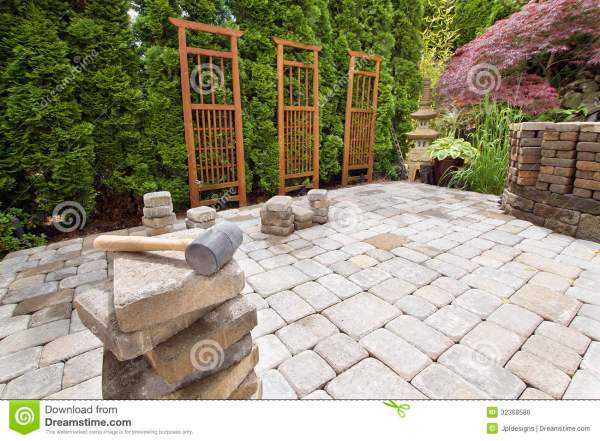 stack of brick pavers hardscape