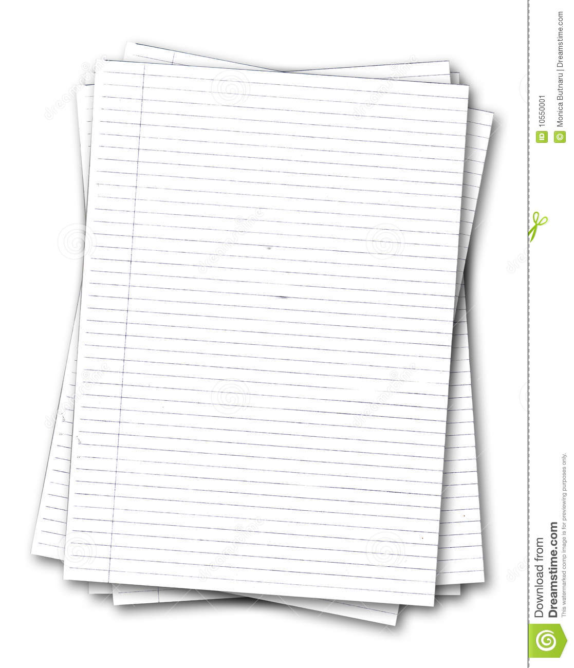Stack Of Old Lined Papers Stock Image