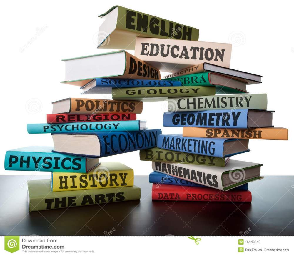 medium resolution of school books on a stack educational textbooks with text education leads to knowledge wisdom in the book for university or college