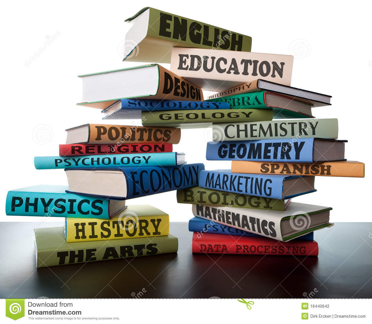 hight resolution of school books on a stack educational textbooks with text education leads to knowledge wisdom in the book for university or college