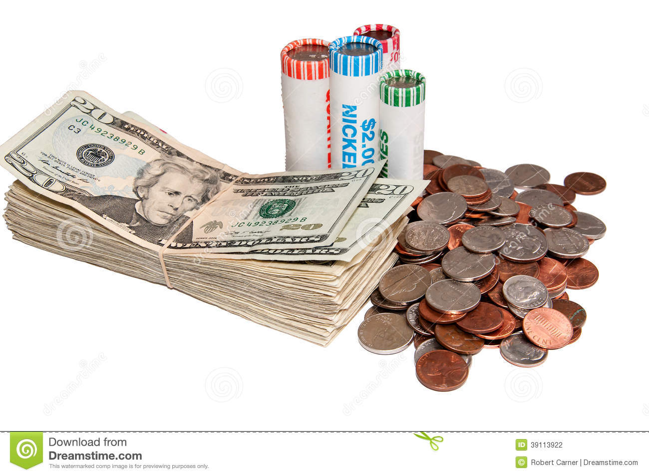 Stack Of Usa Currency And Rolls Of Coins Stock Photo