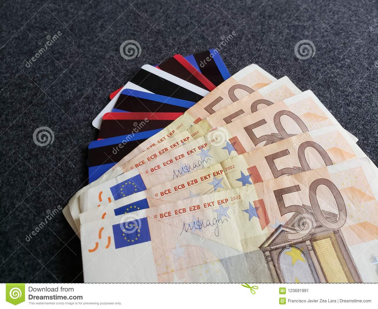 Stacked 50 Euro Banknotes Credit And Debit Cards Background And Texture Stock Image Image Of Texture Background 123691991