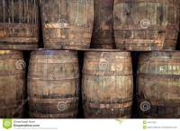 Stacked old whisky barrels stock image. Image of stacked ...