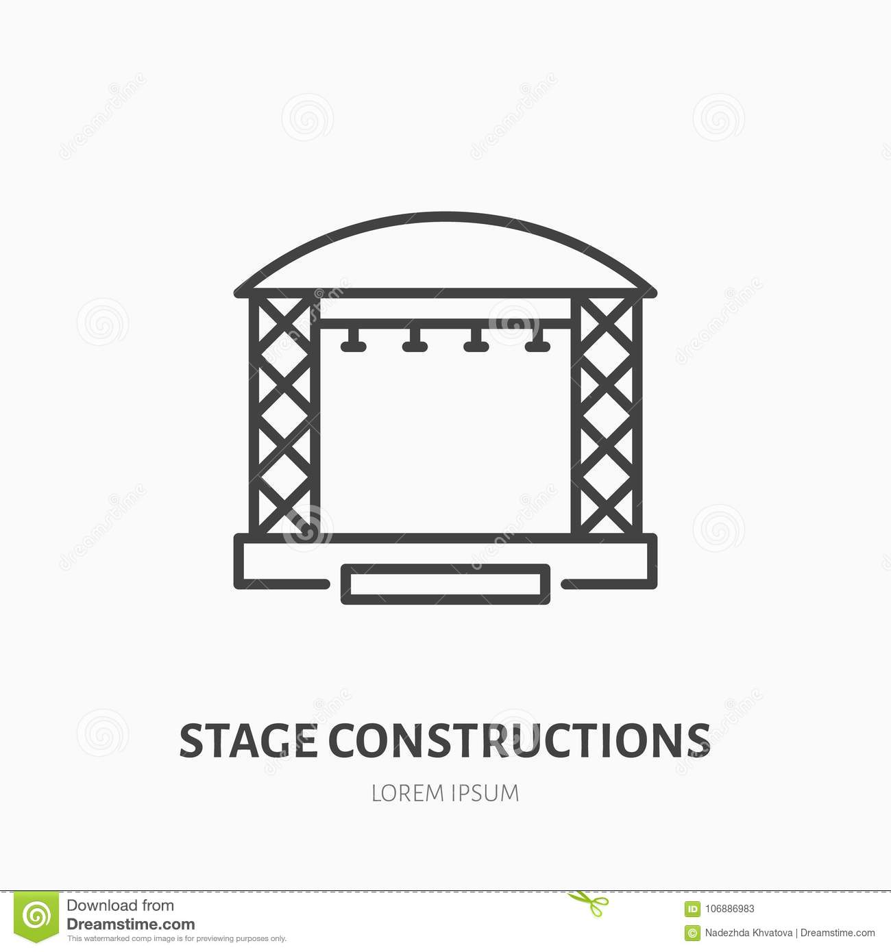Stage Constructions Flat Line Icon Scene Event Equipment