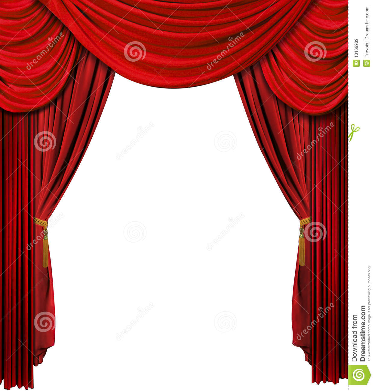 hight resolution of old fashioned theater stage velvet curtain over white background