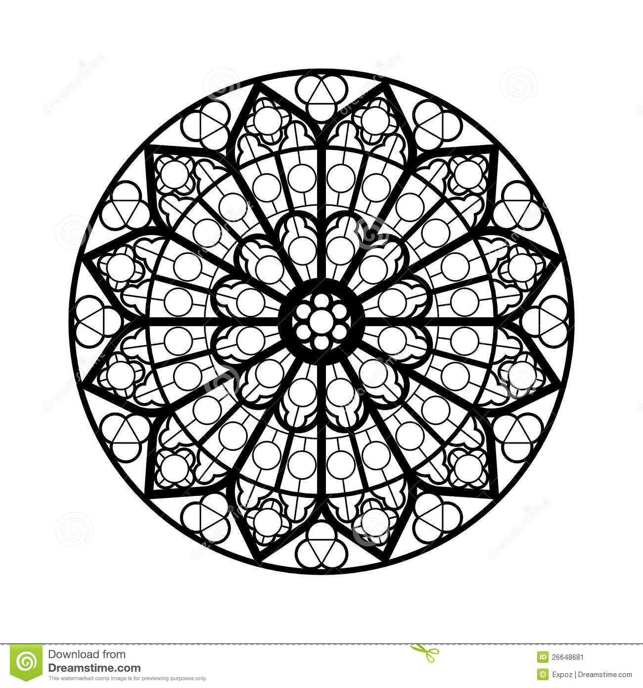Stained glass window shape stock illustration. Image of