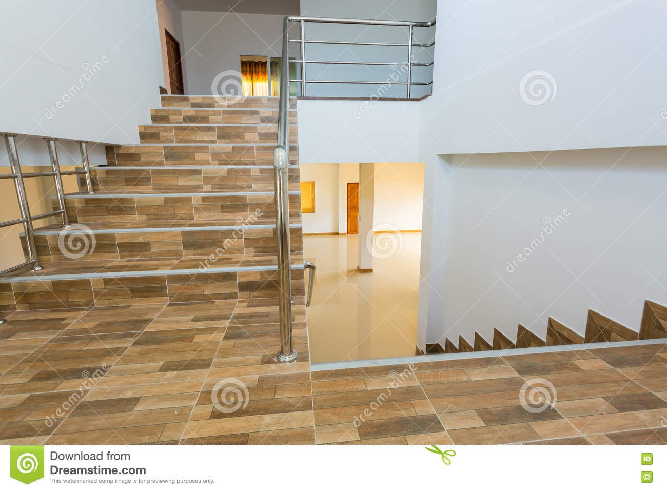 Staircase In Residential House Stock Image Image Of Empty | Floor Tiles Design For Stairs | Hallway Floor Tile | Stair Landing | House | Stair Riser | Wall