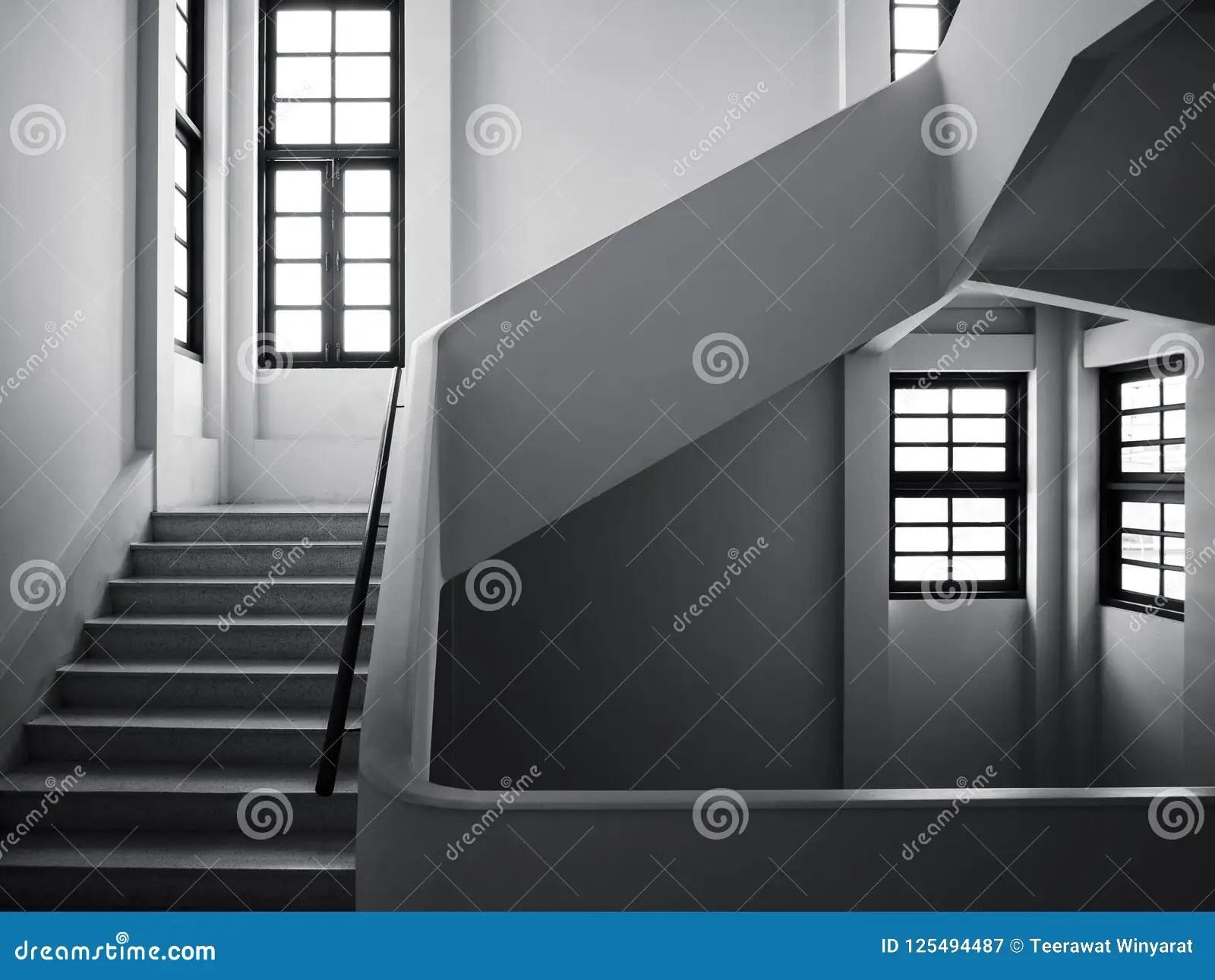 Staircase With Window Frame Interior Building Hallway Stock Image | Window Design For Stairs | Stylish | House Box Window | U Shaped | Big Window | Luxury Window