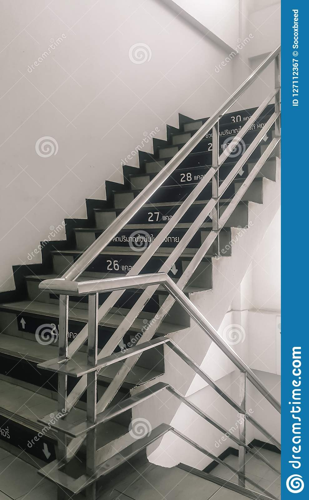 Stairs Up In The Building With Stainless Steel Handrails Stock   Stainless Steel Handrails Near Me   Glass Railing Systems   Staircase Railing   Stair Railing   Metal   Relaxdays Stainless