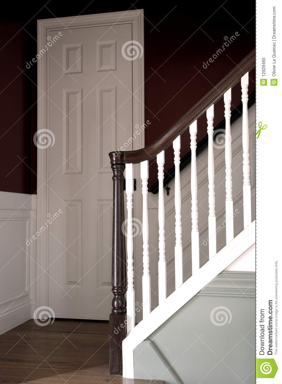 Stairway In Colonial American Style House Interior Stock