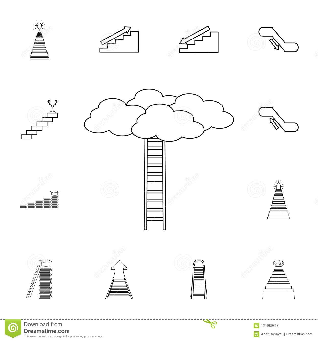 hight resolution of stairway to the clouds icon detailed set of stair icons premium graphic design