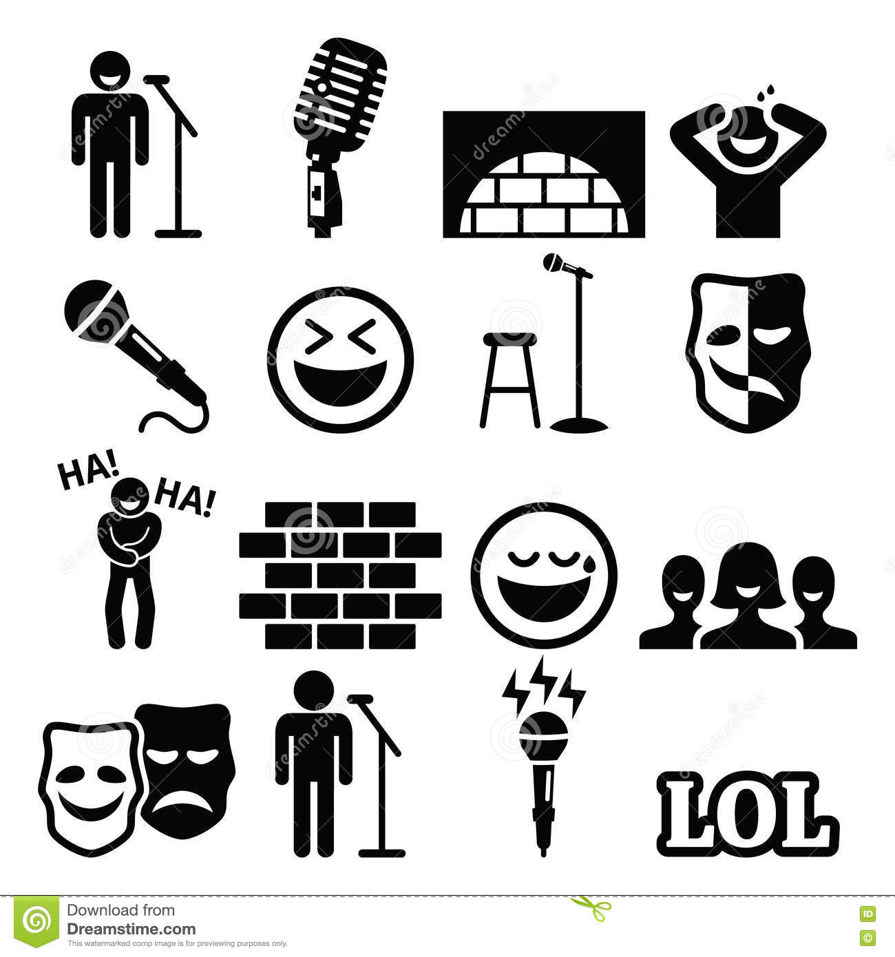 Stand Up Comedy Entertainment People Laughing Icons Set