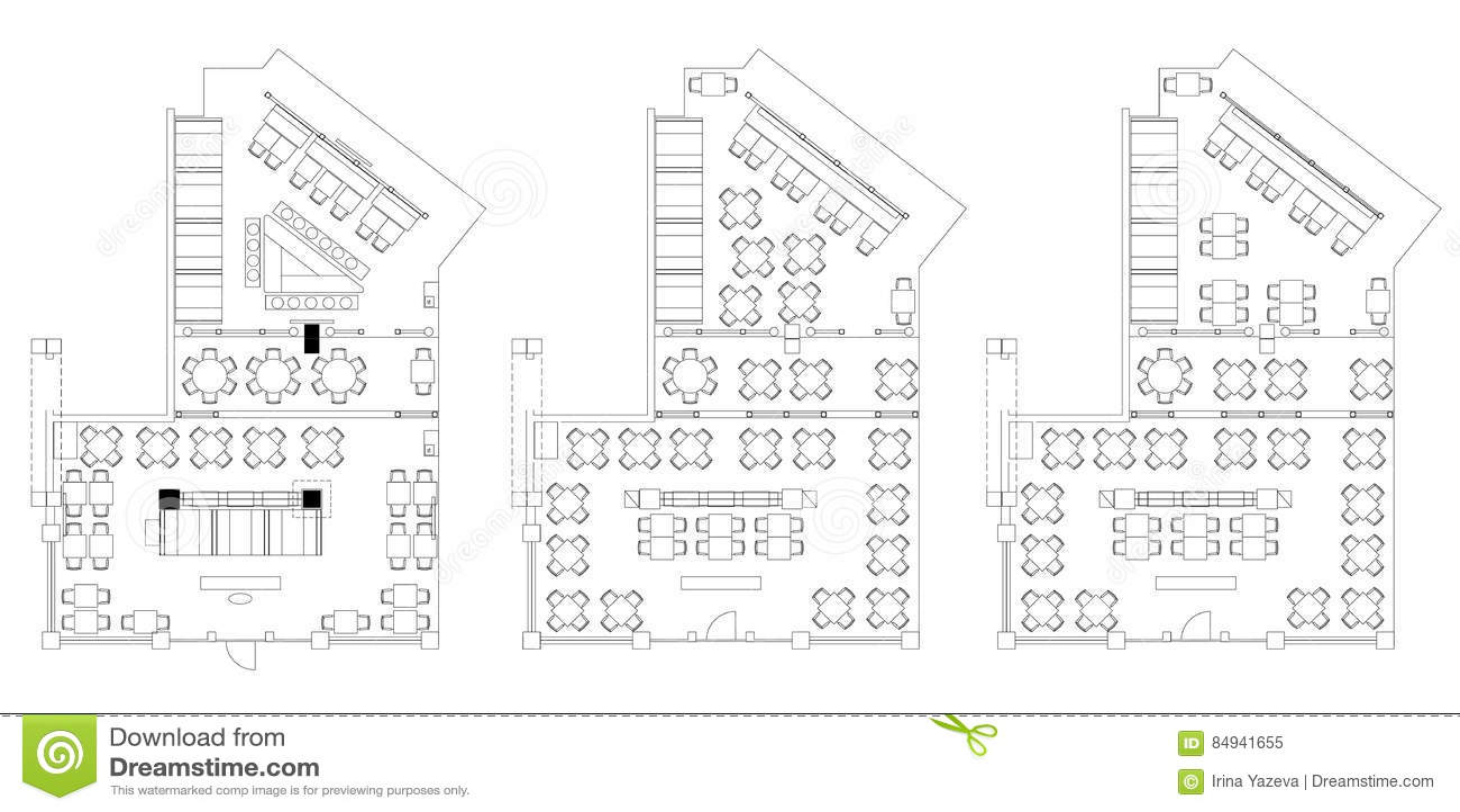Standard Cafe Furniture Symbols On Floor Plans Stock