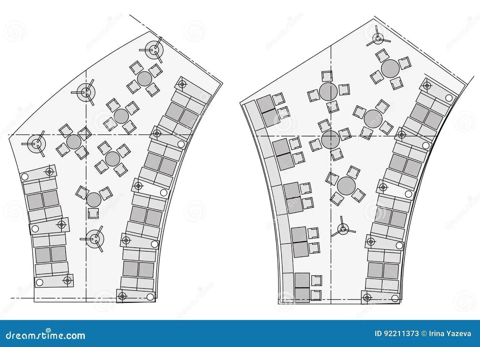 Standard Furniture Symbols Used In Architecture Cartoon