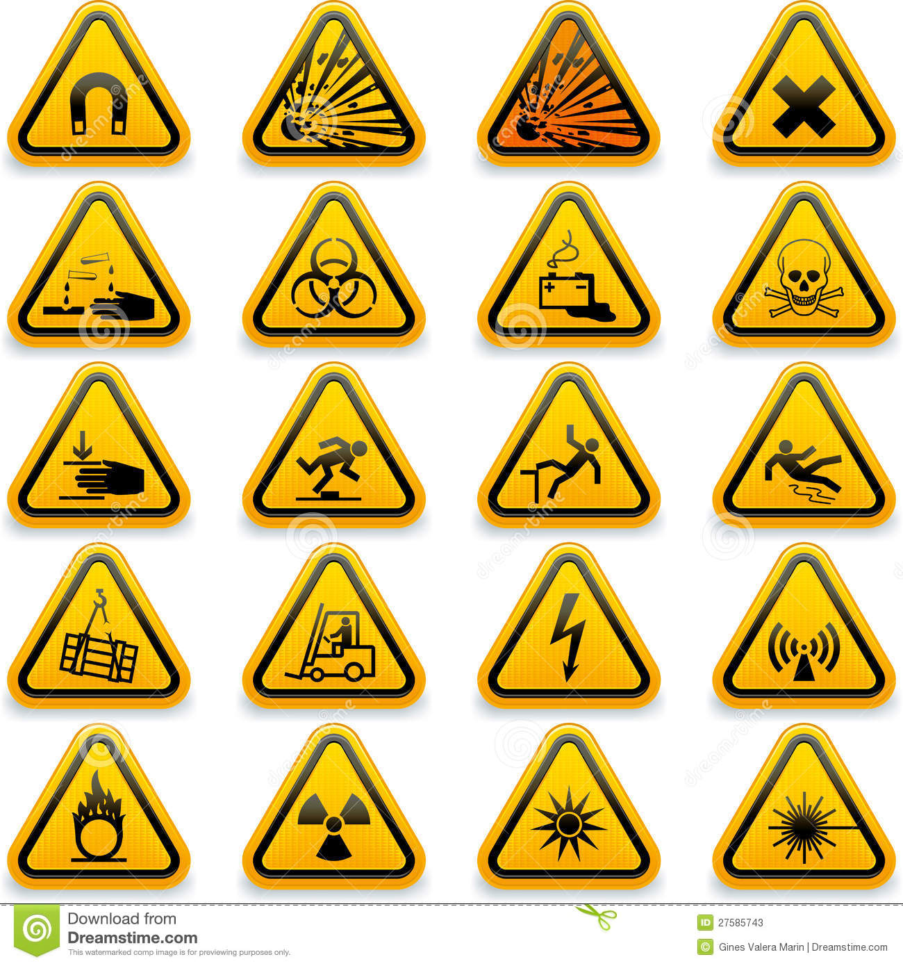 Standard Hazard Symbols Stock Vector Illustration Of