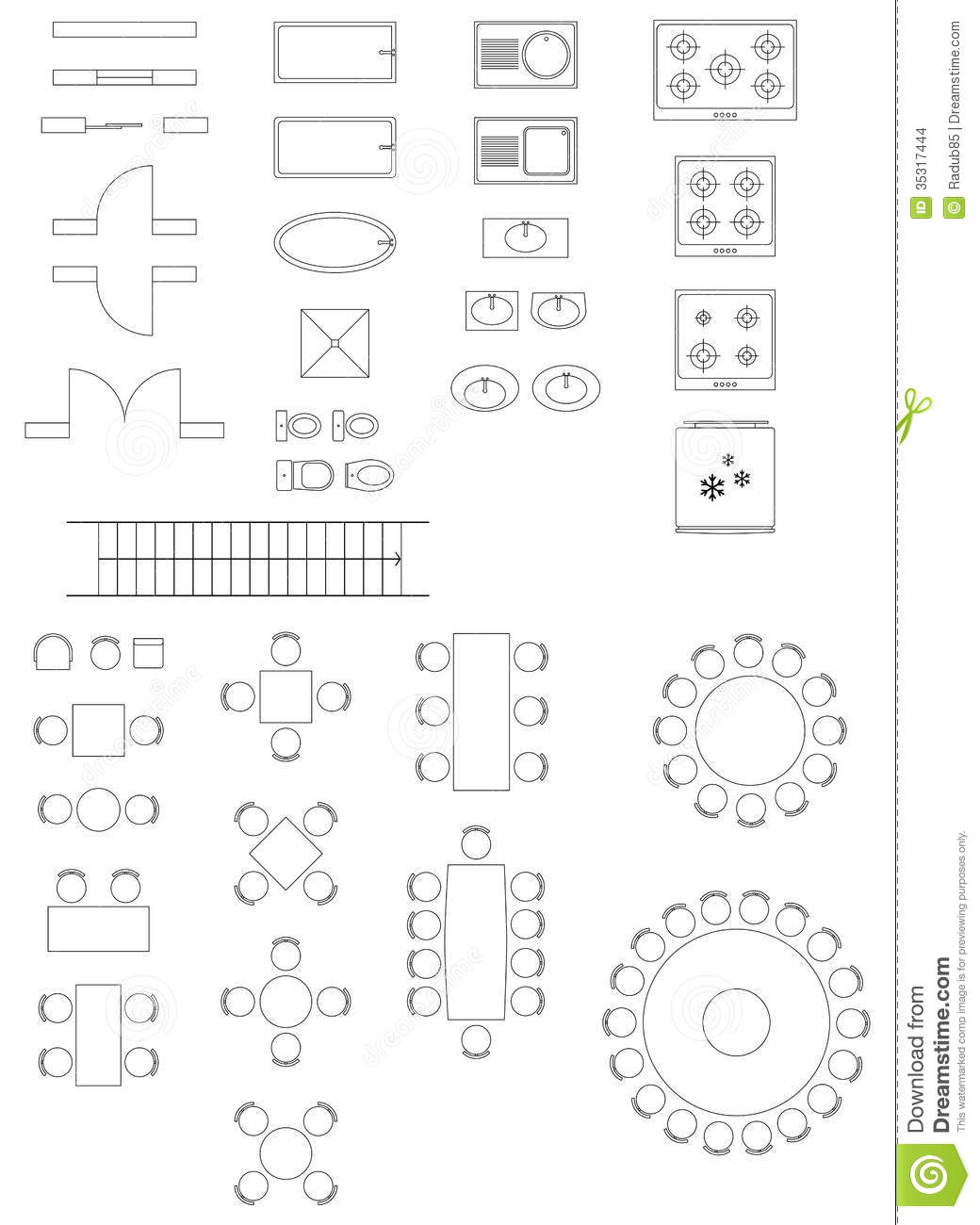 Standard Symbols Used In Architecture Plans Stock Vector