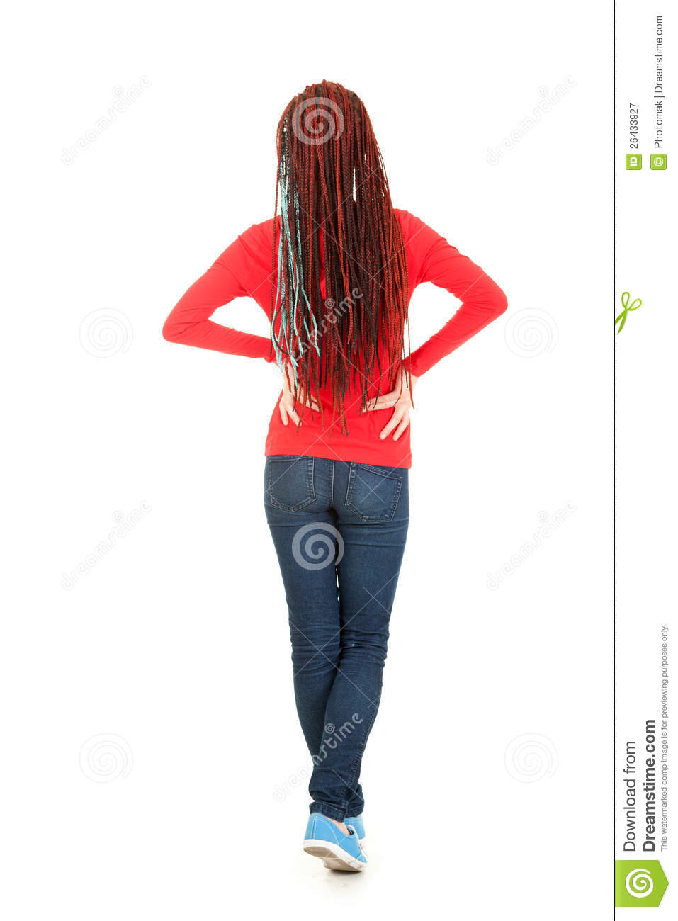Standing Back Teenage Girl With African Braid Stock Image  Image 26433927