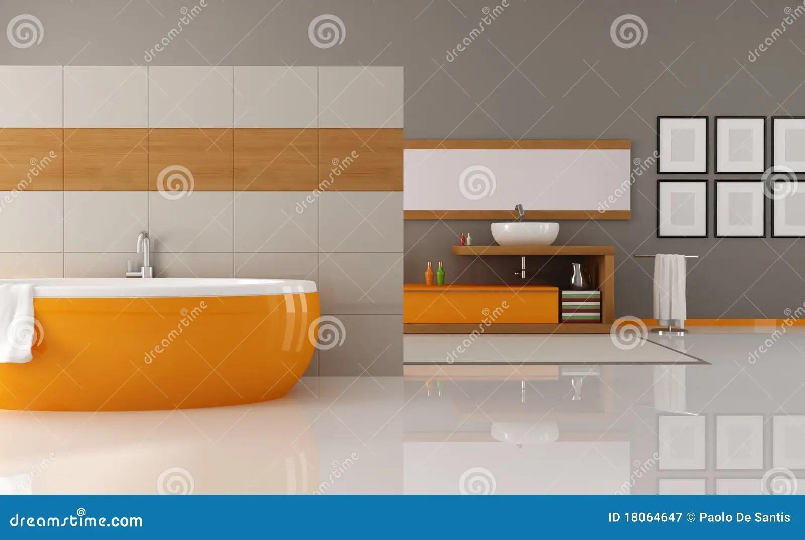 Stanza Da Bagno Arancione E Marrone Fotografia Stock Libera da Diritti  Immagine 18064647