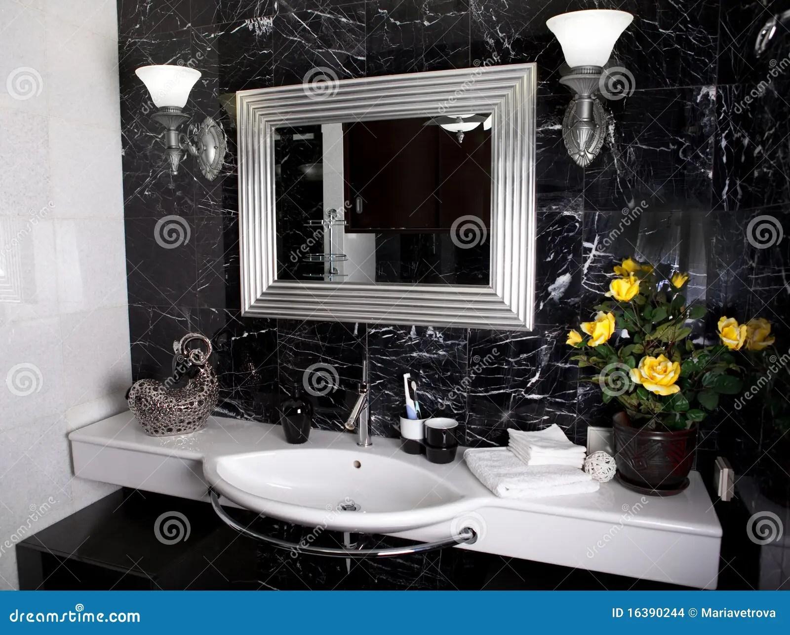 Stanza Da Bagno In Bianco E Nero Fotografia Stock  Immagine di disegno domestico 16390244