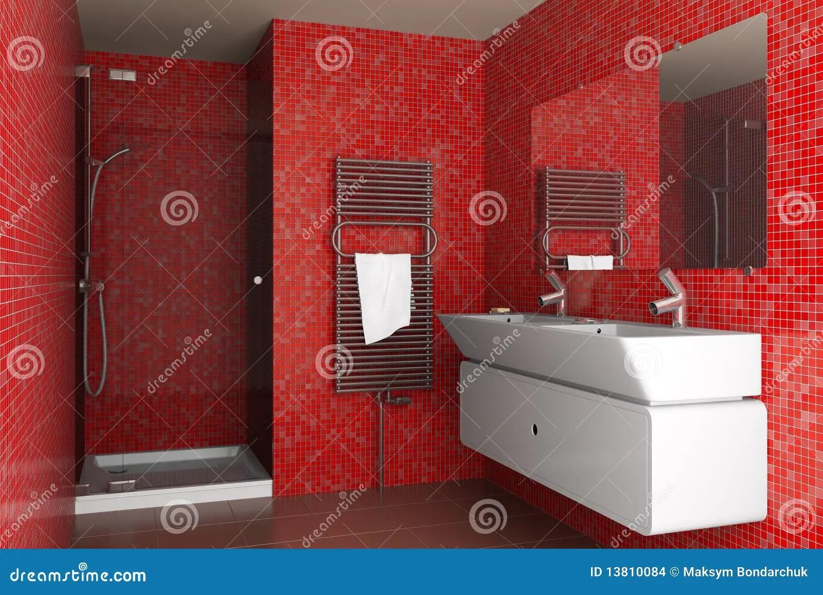 Stanza Da Bagno Moderna Con Le Mattonelle Di Mosaico Rosse Illustrazione di Stock