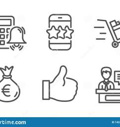 star like and calculator alarm icons simple set push cart money bag and exhibitors signs phone feedback thumbs up business set line star icon  [ 1600 x 1152 Pixel ]