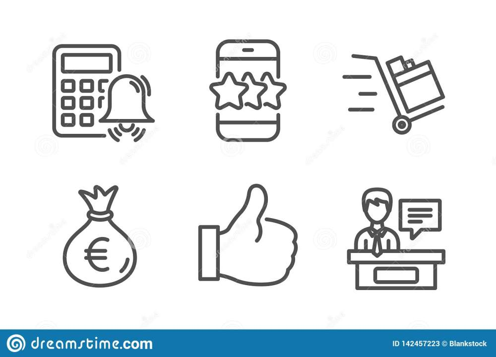 medium resolution of star like and calculator alarm icons simple set push cart money bag and exhibitors signs phone feedback thumbs up business set line star icon