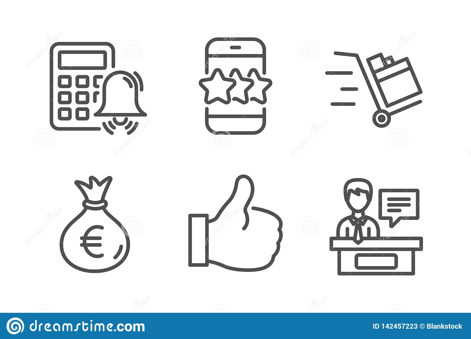 hight resolution of star like and calculator alarm icons simple set push cart money bag and exhibitors signs phone feedback thumbs up business set line star icon