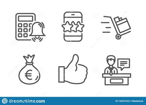 small resolution of star like and calculator alarm icons simple set push cart money bag and exhibitors signs phone feedback thumbs up business set line star icon