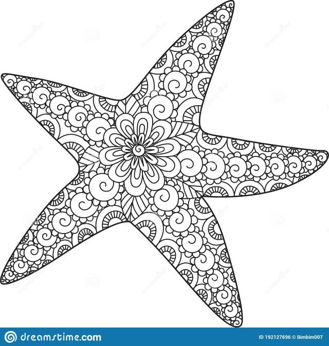 Line Art of Starfish Design for Coloring Book, Coloring Page and
