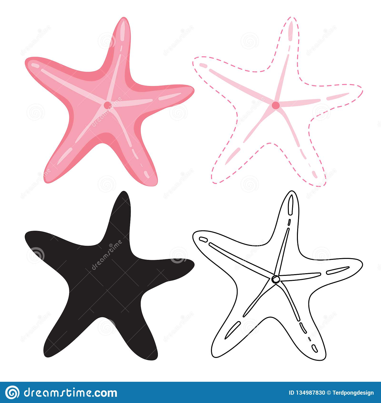 Starfish Worksheet Vector Design Stock Vector
