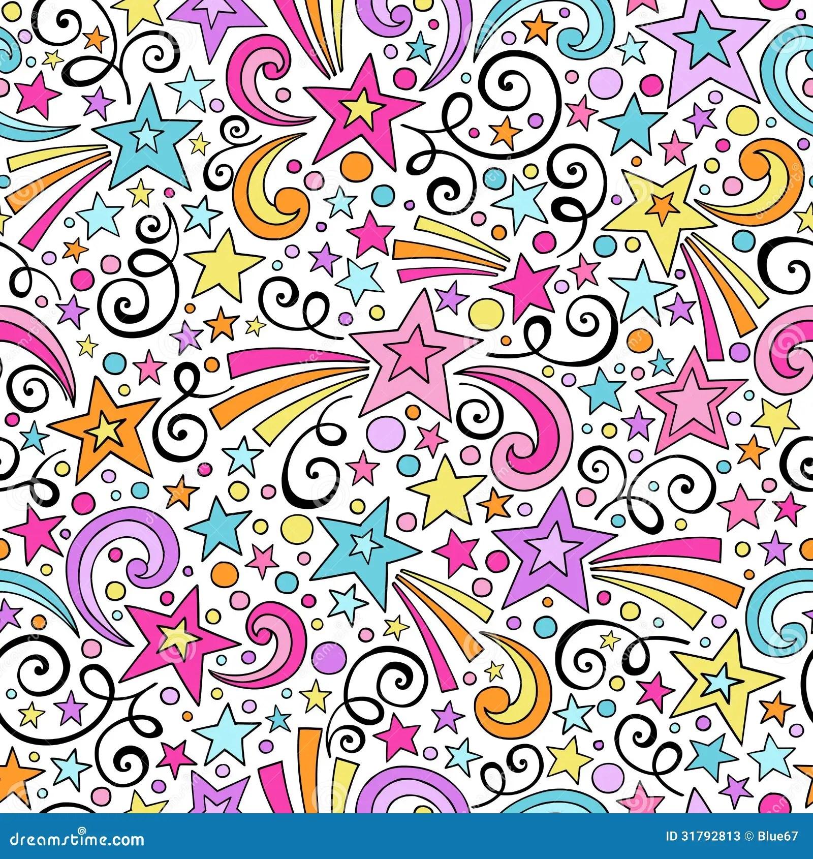 Cute Henna Wallpapers Stars Seamless Pattern Notebook Doodles Vector Stock
