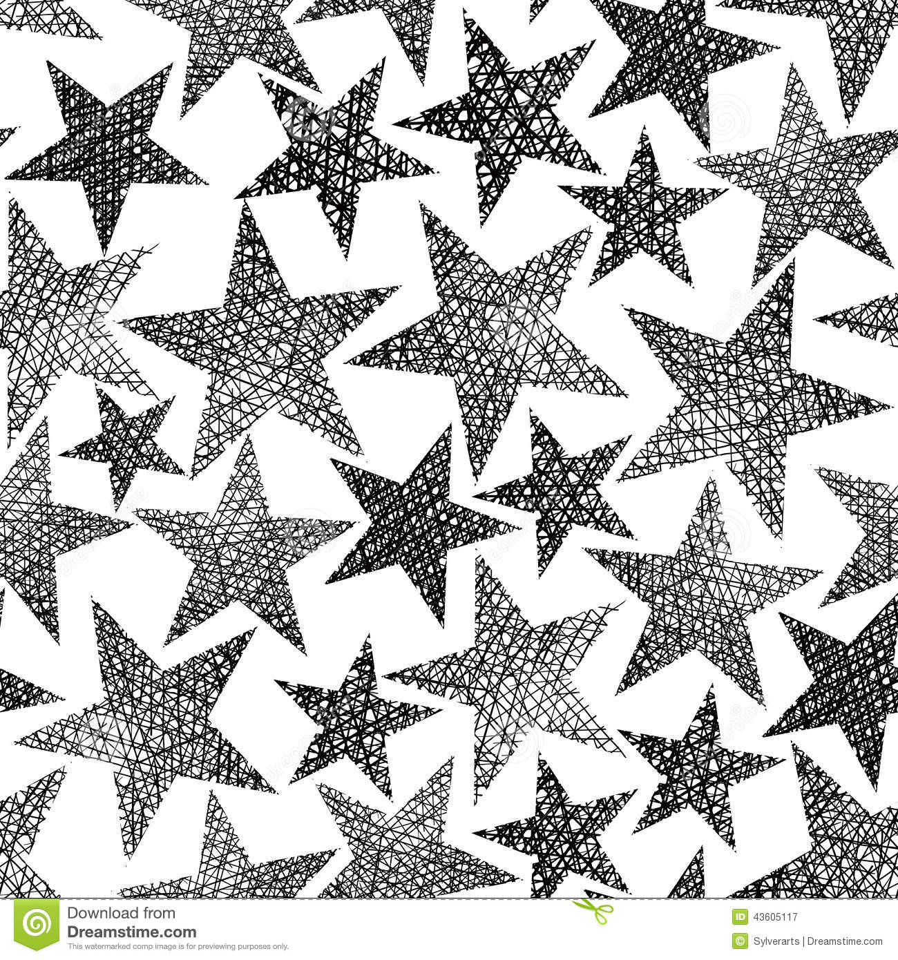 Grungy Star Seamless Pattern Vector Illustration