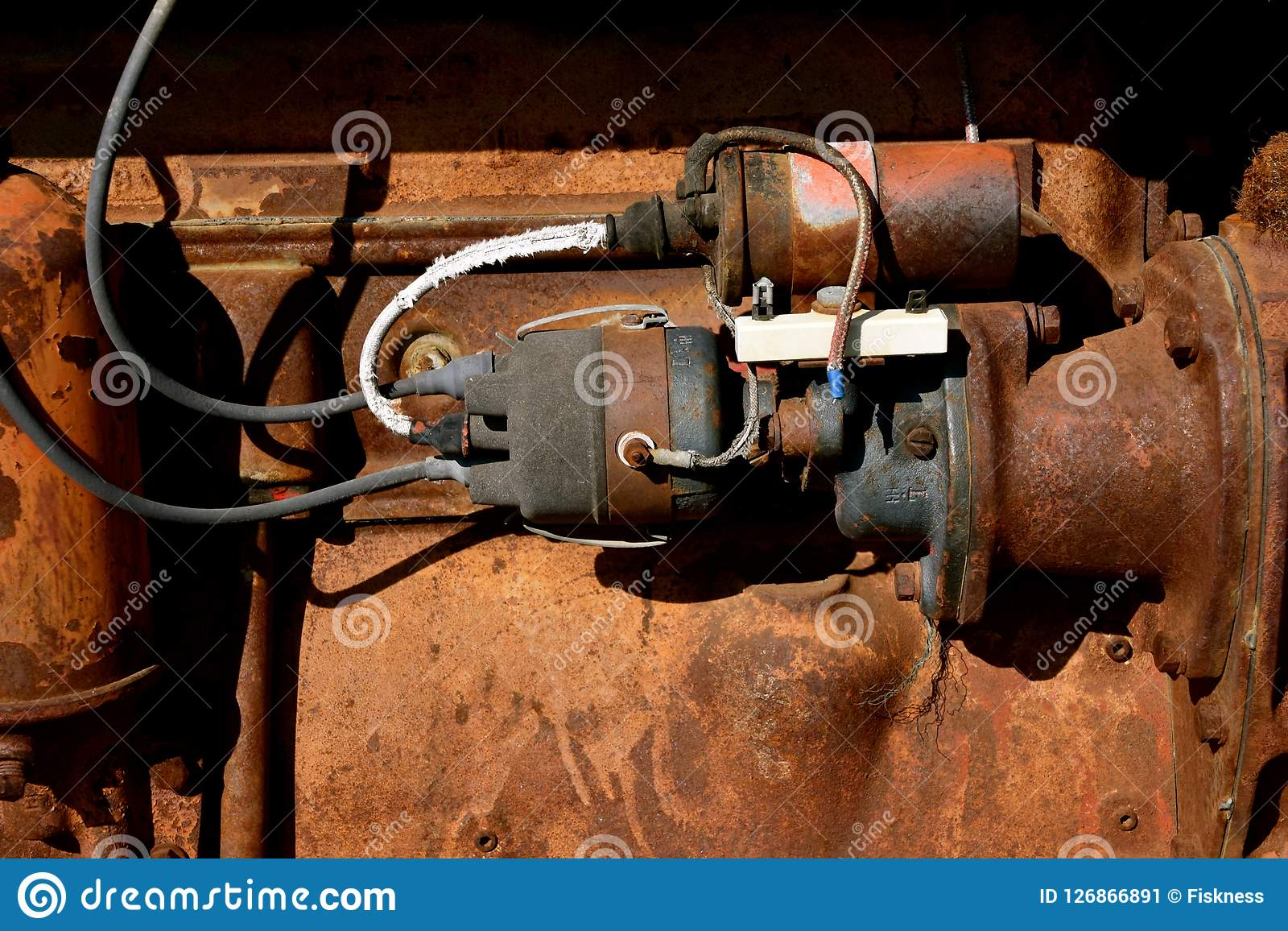 hight resolution of starter wiring and ignition on an old tractor stock image image of lawn tractor starter solenoid wiring diagram tractor starter wiring