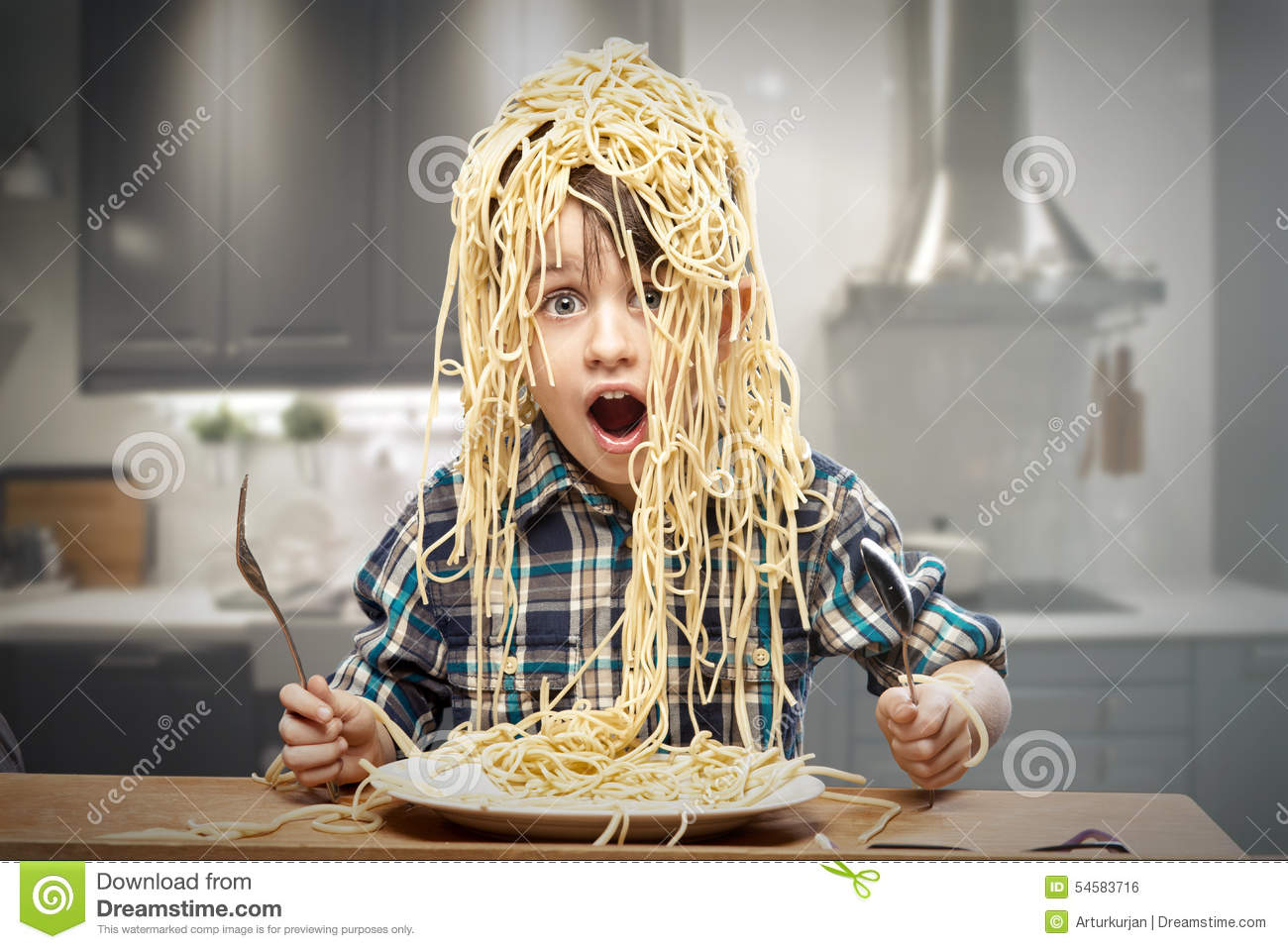 4 person kitchen table weight scale startled yound boy with noodles stock photo - image: 54583716