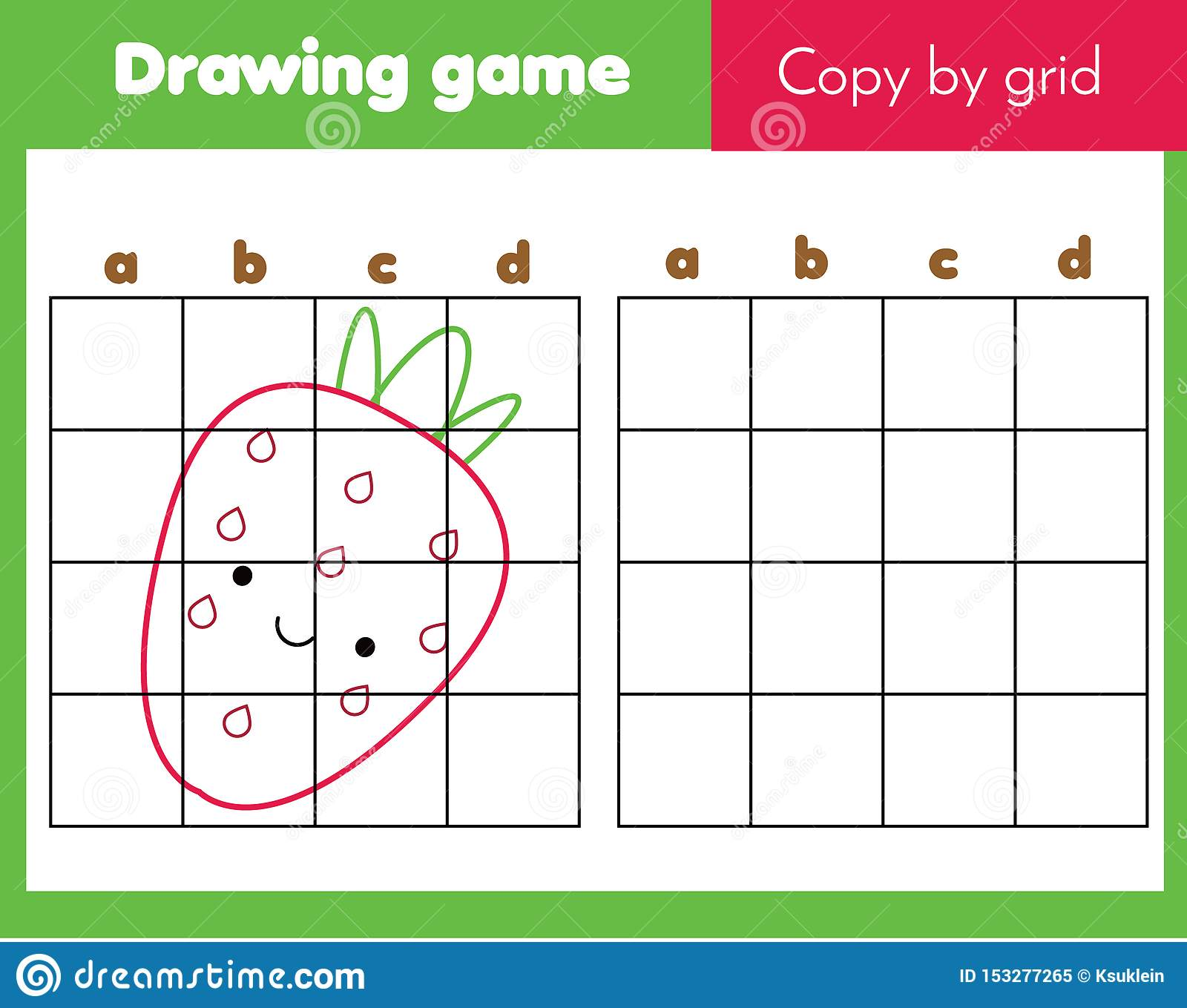 Starwberry Grid Copy Worksheet Educational Children Game
