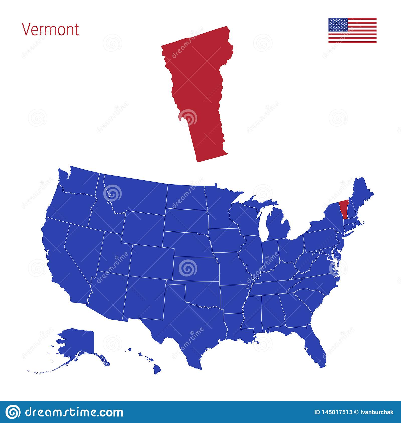 It borders canada (québec province) to the north. The State Of Vermont Is Highlighted In Red Vector Map Of The United States Divided Into Separate States Stock Illustration Illustration Of Infographic Flat 145017513