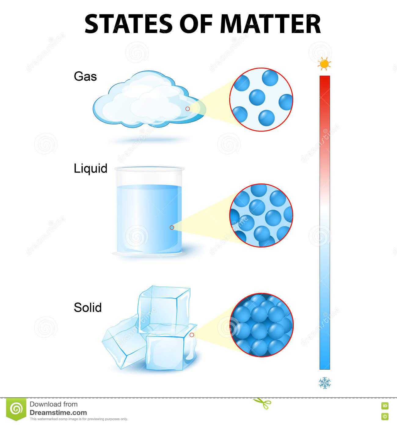 Matter In Different States Cartoon Vector