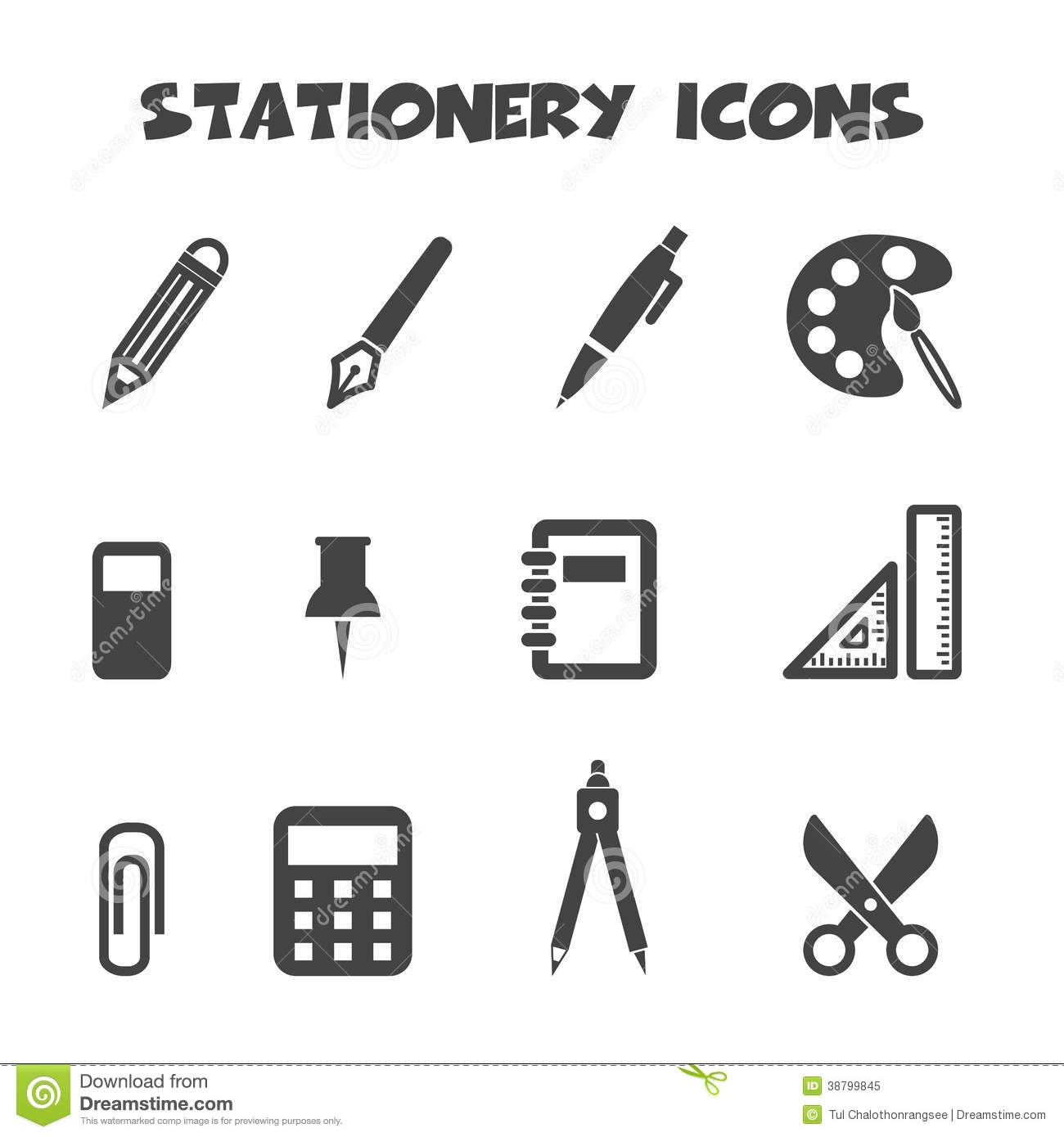 Stationery Icons Stock Vector Image 38799845