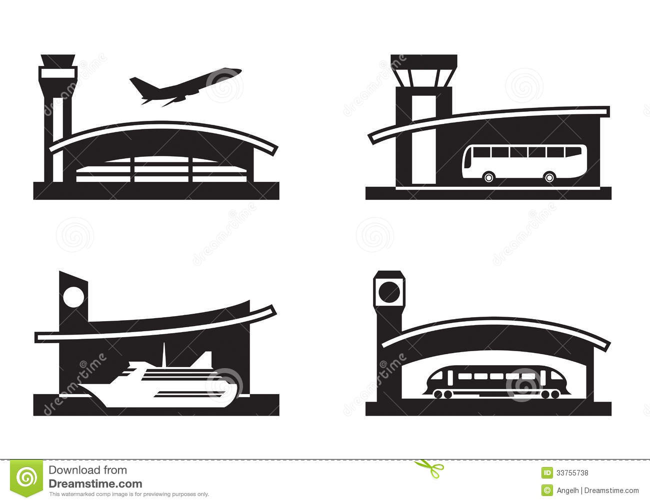 Stations Of Public Transport Stock Vector