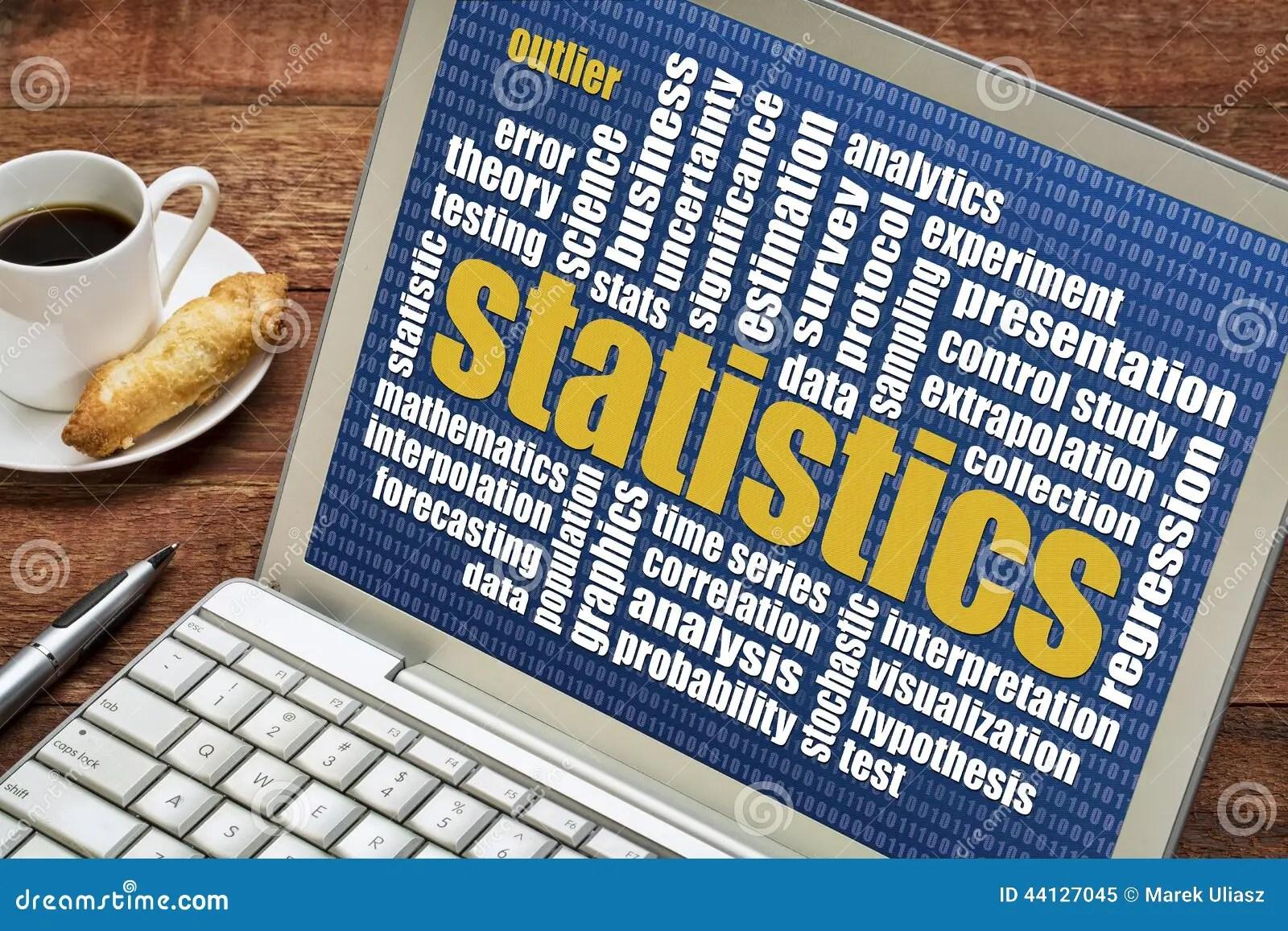Statistics Word Cloud On Laptop Stock Photo
