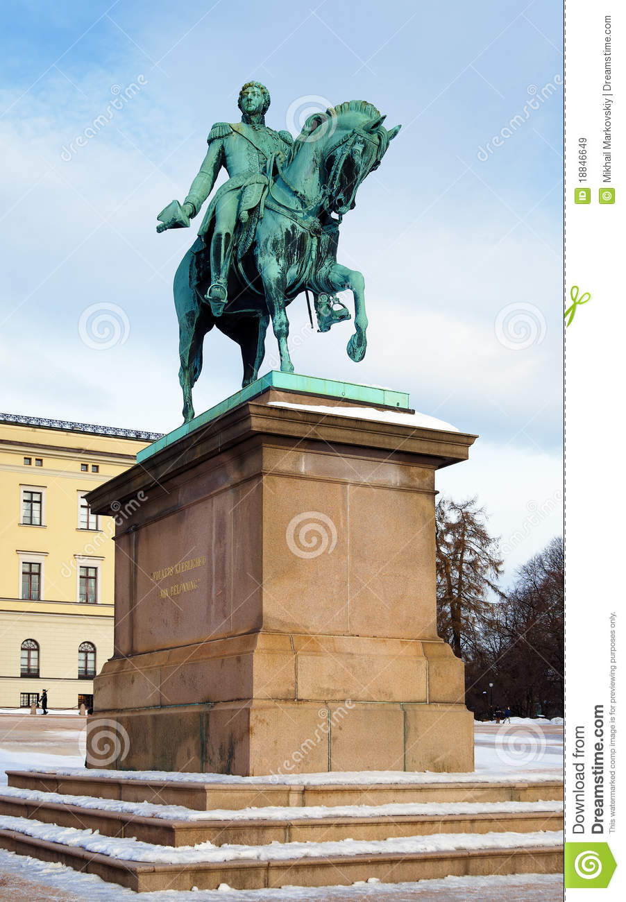 Statue Of King Carl XIV Johan In Oslo Norway Royalty Free
