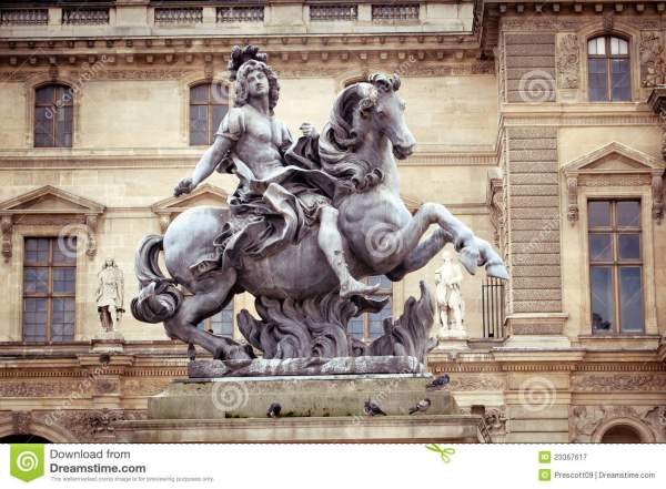 Statue Of King Louis Louvre Museum Paris Royalty Free