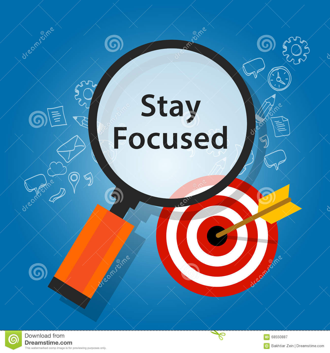 Stay Focused On Target Reminder Goals Stock Vector
