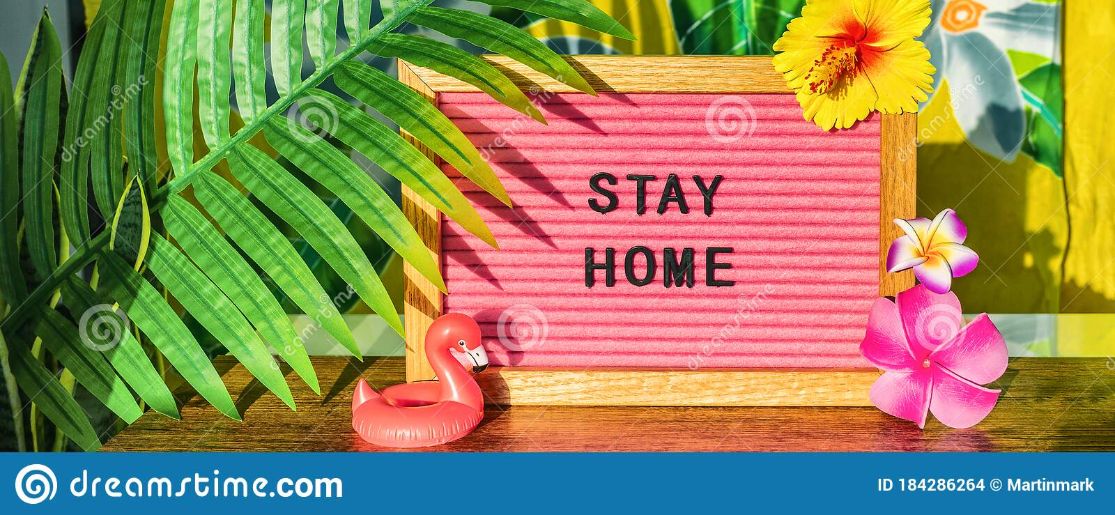 Stay Home Sign For Summer Vacation Plans During Covid 19 Travel Ban Tropical Background With Palm Leaves Flowers Stock Photo Image Of Flowers Billboard 184286264