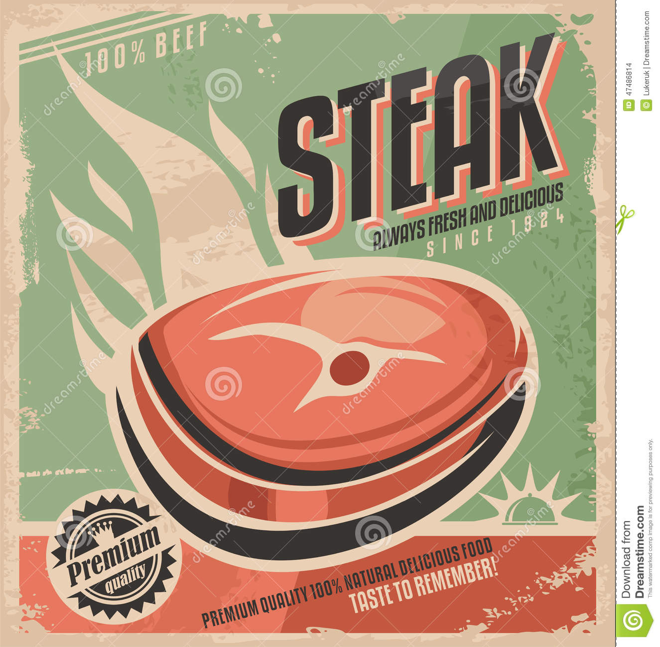 Steak retro poster design stock vector Illustration of