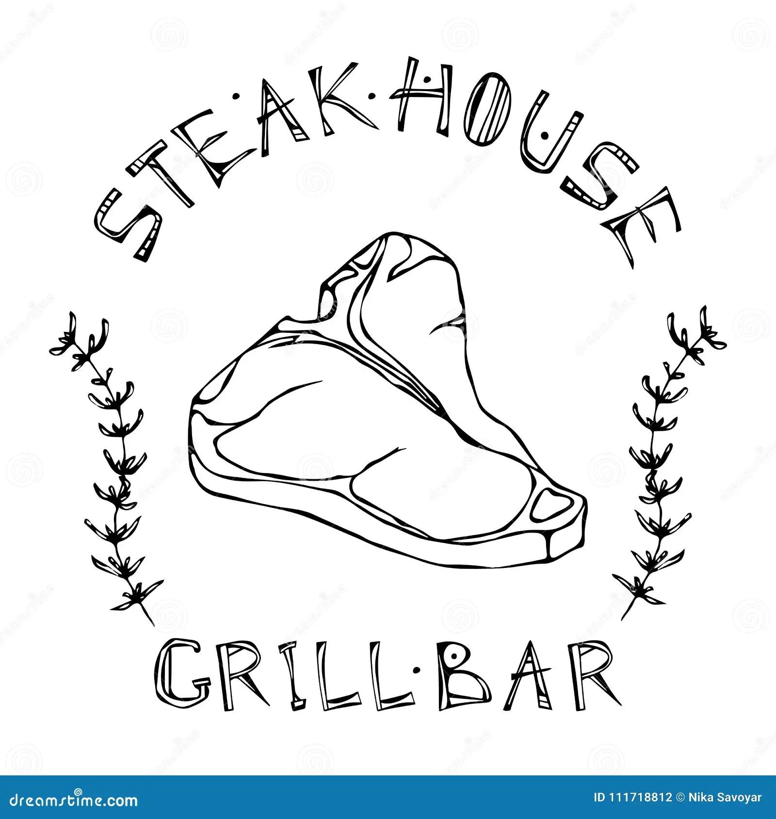 Steakhaus Oder Grill Bar Logo T Bone Steak Rindfleisch