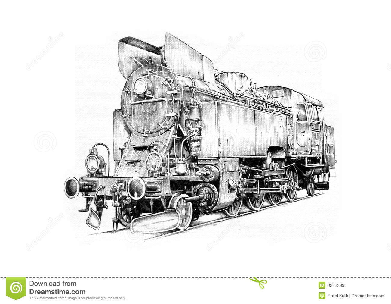 Steam Engine Art Design Drawing Stock Illustration